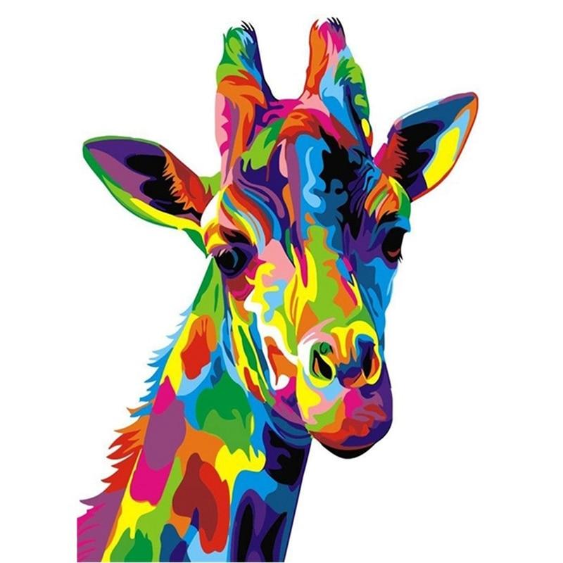 Cross Stitch Kit Diy Diamond Embroidery Color Giraffe Full Round Diamond Painting Mosaic Home Deco