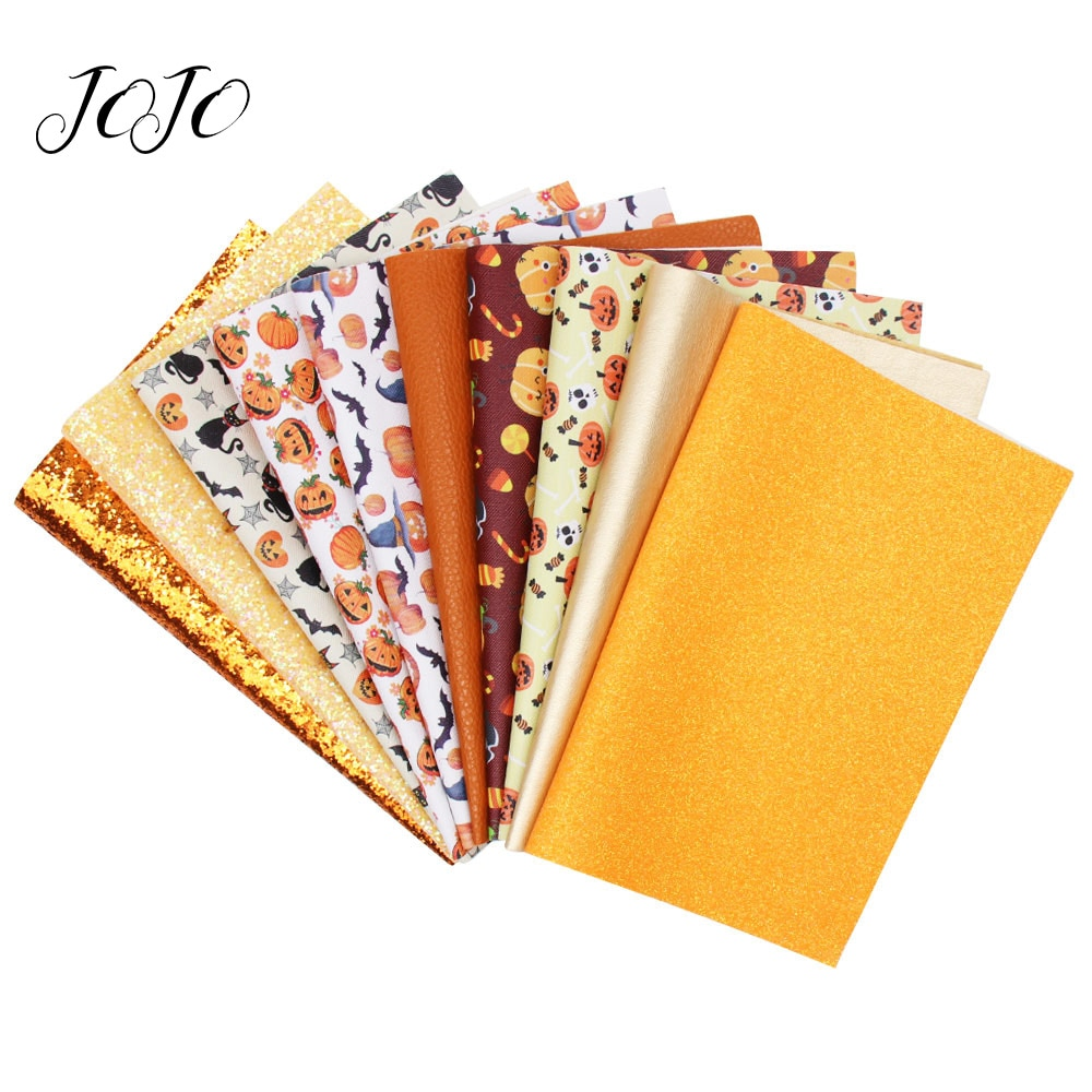 JOJO BOWS 22*30cm 10pcs Faux Synthetic Leather Glitter Fabric sheet Holiday Party Decoration DIY Hai