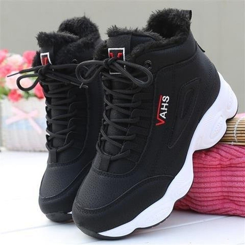 Autumn Winter New Super-fire Womens Sneakers Thick-soled Shoes Plush Warm High-top Woman Platform