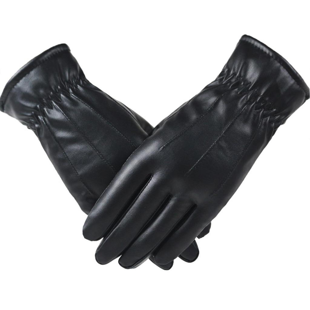 Alta qualidade de couro feminino moda inverno mais veludo quente preto luva feminina condução tela toque telefone luva luvas # l10