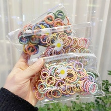 100pcs/set Cute Hair Accessories Girls Rubber Bands Colorful Elastic Hair Bands Kids Baby hairband d