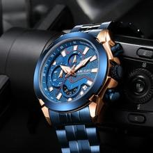 MEGIR Men Chronograph Watches Stainless Steel Quartz Watch Blue Sport Luminous Waterproof Wristwatch