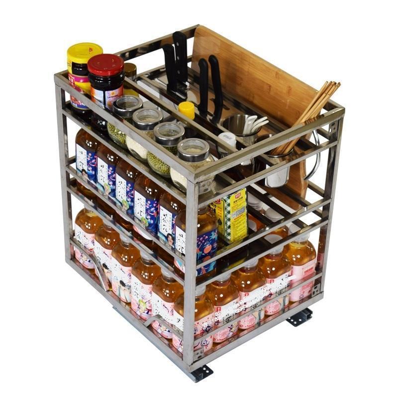 De Cosina Rangement Cuisine Pantry Organizador Accessories Stainless Steel Cozinha Organizer Cocina Kitchen Cabinet Basket