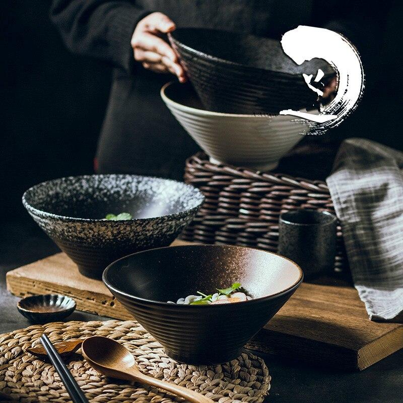 Набор японской креативной посуды, коммерческая Бамбуковая Шляпа, керамическая чаша, домашний большой рамен, рис, лапша, суповая миска