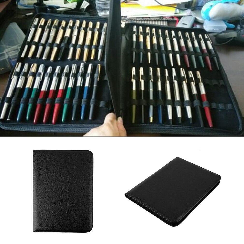 Авторучка/роликовая Ручка черный цвет PU кожаный чехол на молнии для 48 ручек популярная новинка Прямая поставка