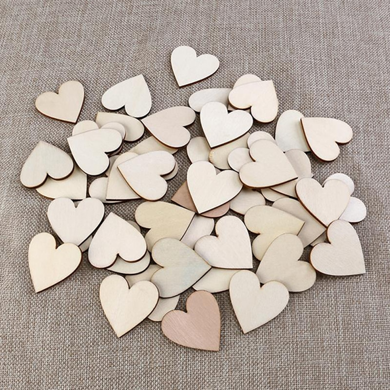 100 unids/bolsa de madera con forma de corazón de amor, artesanía de madera para Navidad, decoración del hogar, decoración DIY para cumpleaños, recuerdo de fiesta, álbum de recortes