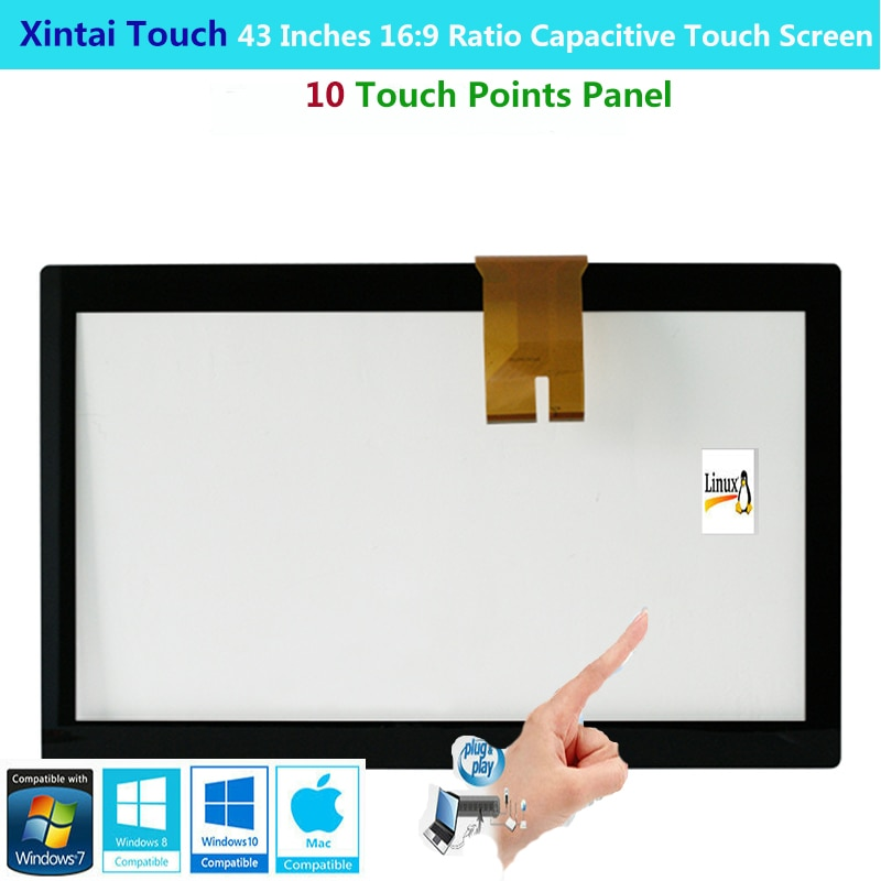 Xintai Touch 43 Inches 16:9 Ratio Projected Capactive Touch Screen Panel With 10 Touch Points Plug&Play
