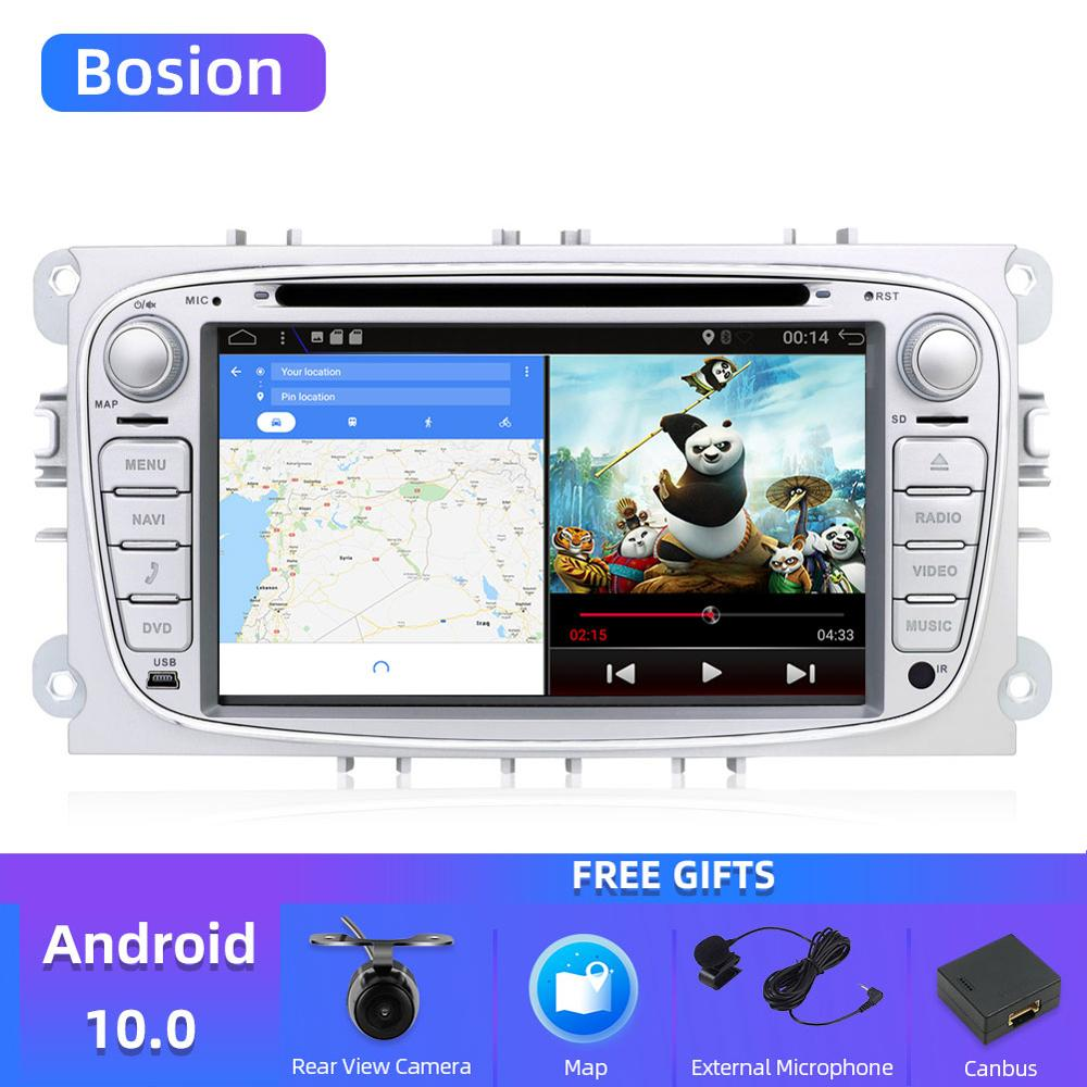 Bosion 2 din Android 10,0 coche dvd para ford mondeo fucus s-max conectar radio coche HD reproductor multimedia GPS Navi con cámara