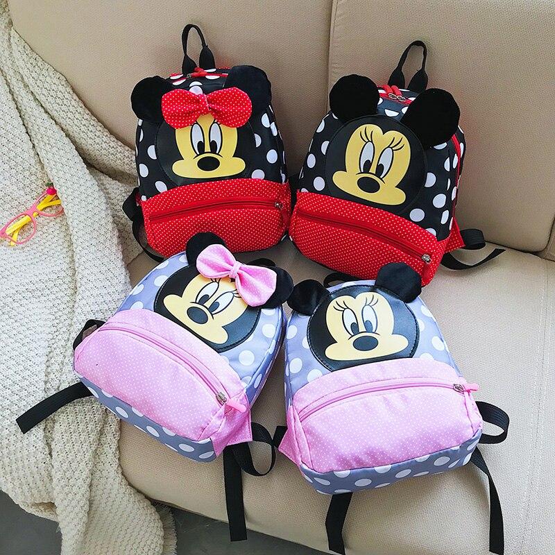 Disney mickey & minnie crianças mochilas do jardim de infância mochila crianças sacos de escola do bebê meninas meninos mochilas