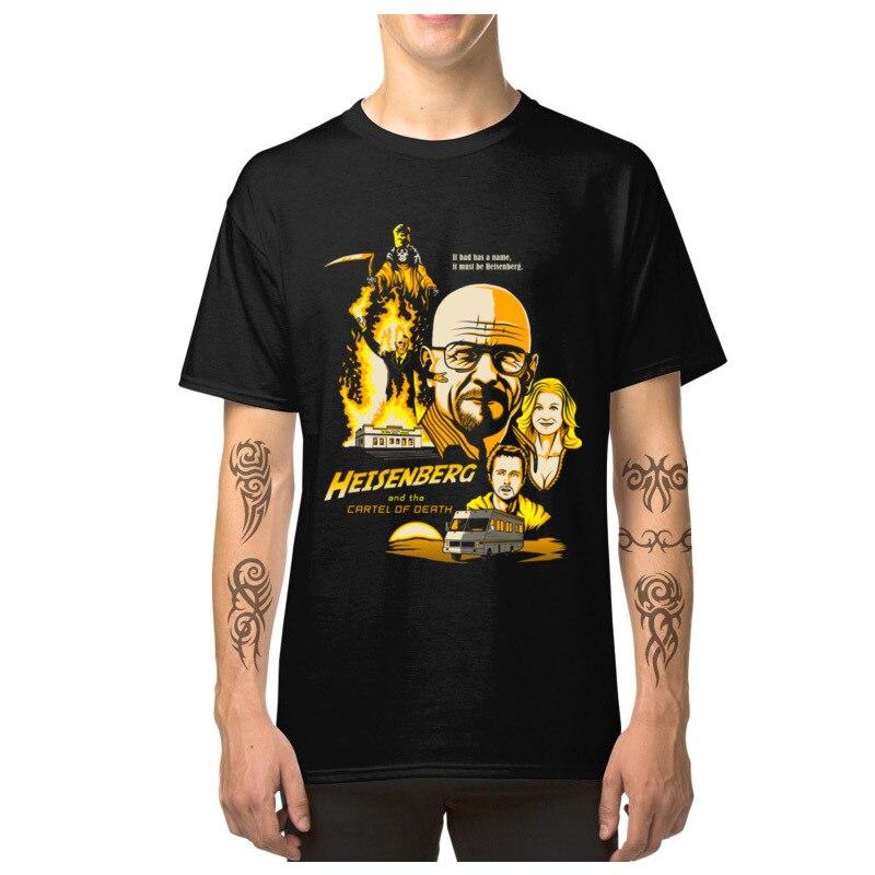 Camiseta para hombre Breaking Bad Heisenberg Cartel de la muerte Tops camisetas 100% de algodón para hombre ropa de verano Slim Fit Criminal TV camisetas