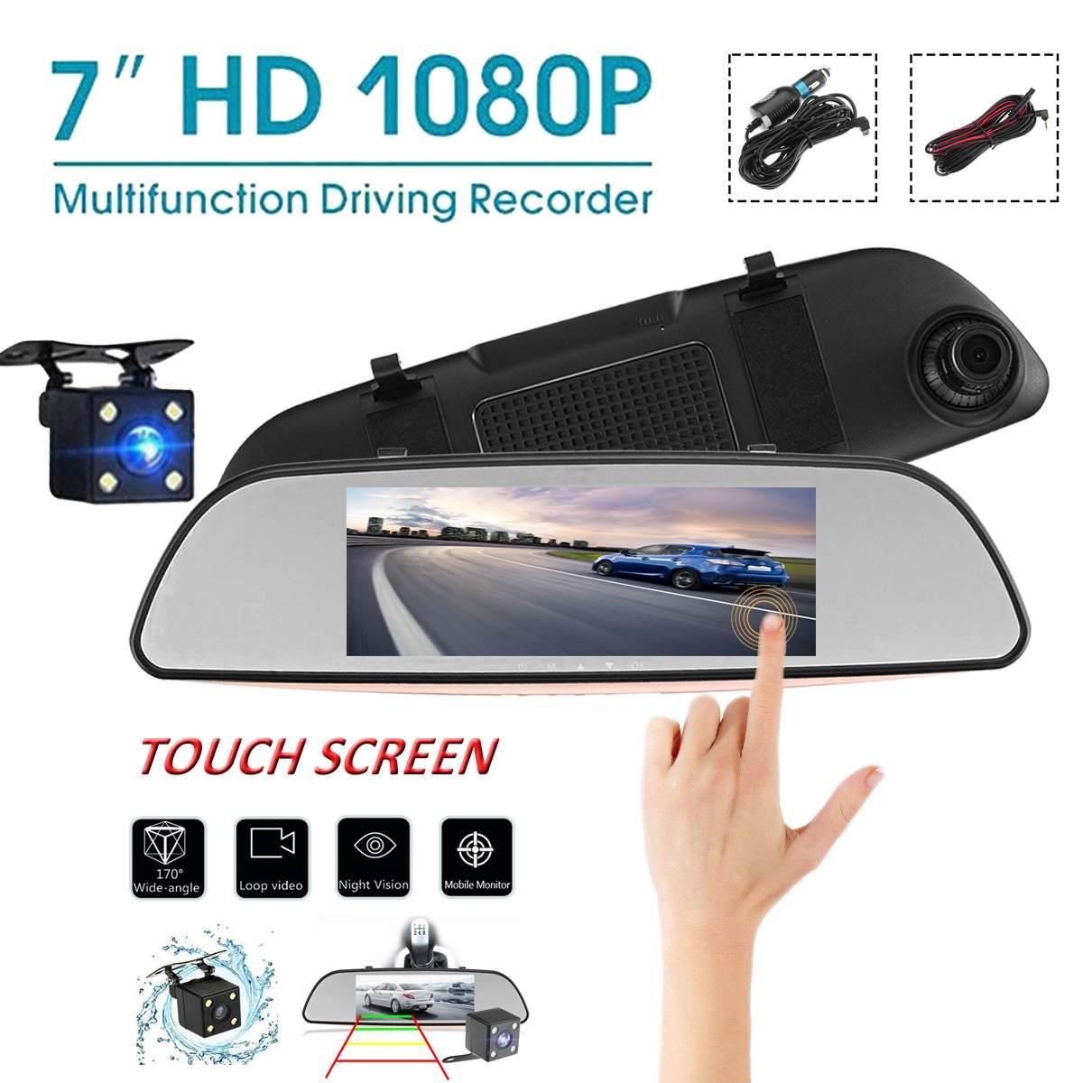 7 Inch Touch Screen 1080P Car DVR Dual Lens Rear view Camera Mirror Video Recorder Dash Cam Auto Video Recorder Parking Dash Cam
