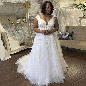New Appliques Beach Vestido De Noiva Arabic Wedding Dresses 2021 Plus Size A-Line Wedding Gowns