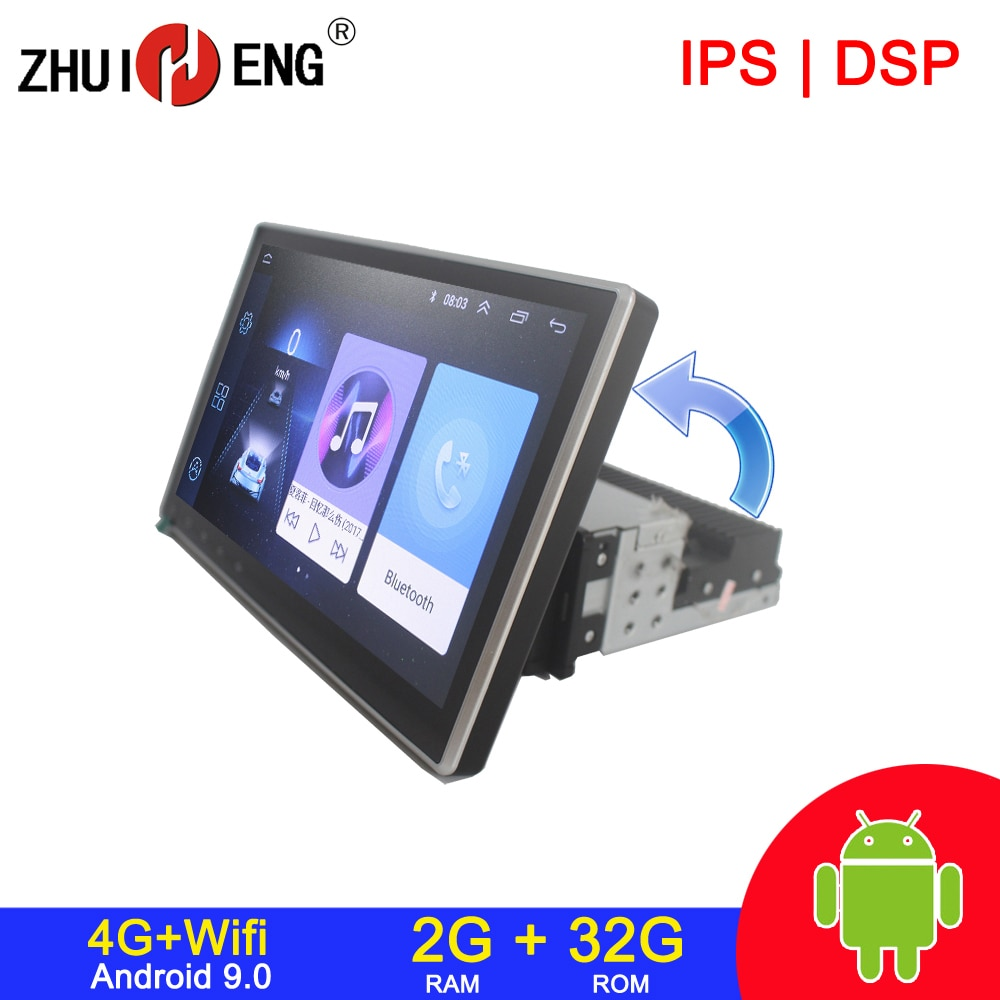 Zhuiheng Rotatable 4G internet 2G 32G 1 din Car radio for Universal car dvd player GPS navigation ca