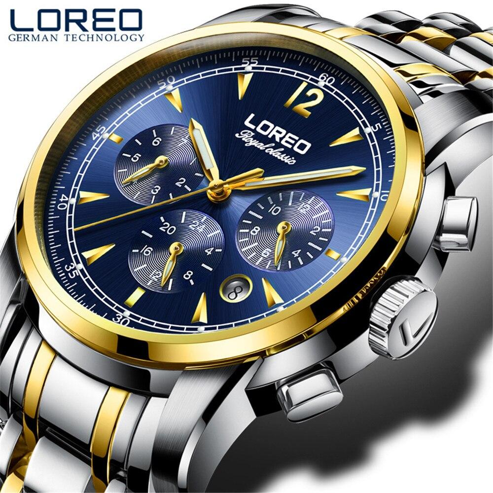 Mecânicos dos Homens de Luxo 50m à Prova Loreo Marca Superior Esporte Relógios Safira Dwaterproof Água Aço Inoxidável Relógio Automático Montre Homme