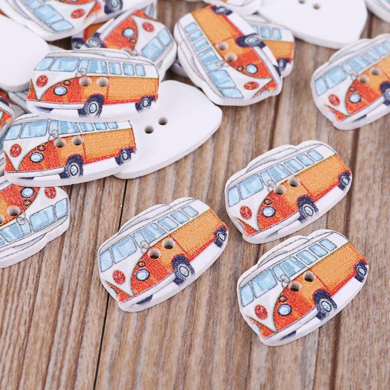 50 Uds. Botones de madera para autobús, 2 agujeros, manualidades para álbum de recortes, DIY ropa de bebé, costura M6CE