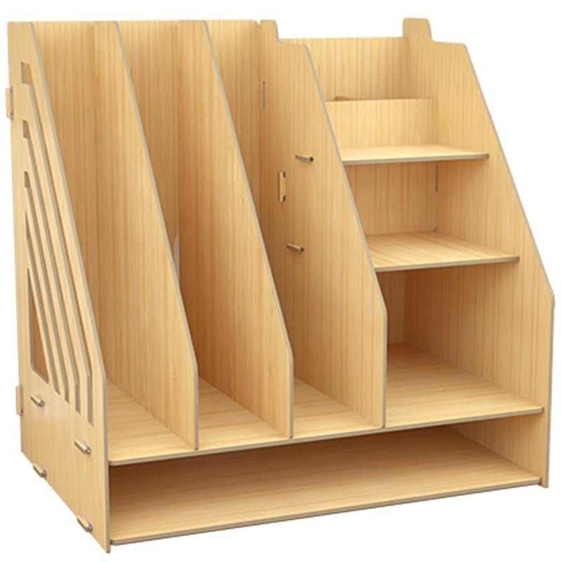 Home Deco Storage Book Shelf Wooden Child Book Rack Household Desktop Bookcase Multi-Grid Simple Modern Table Organizer Locker