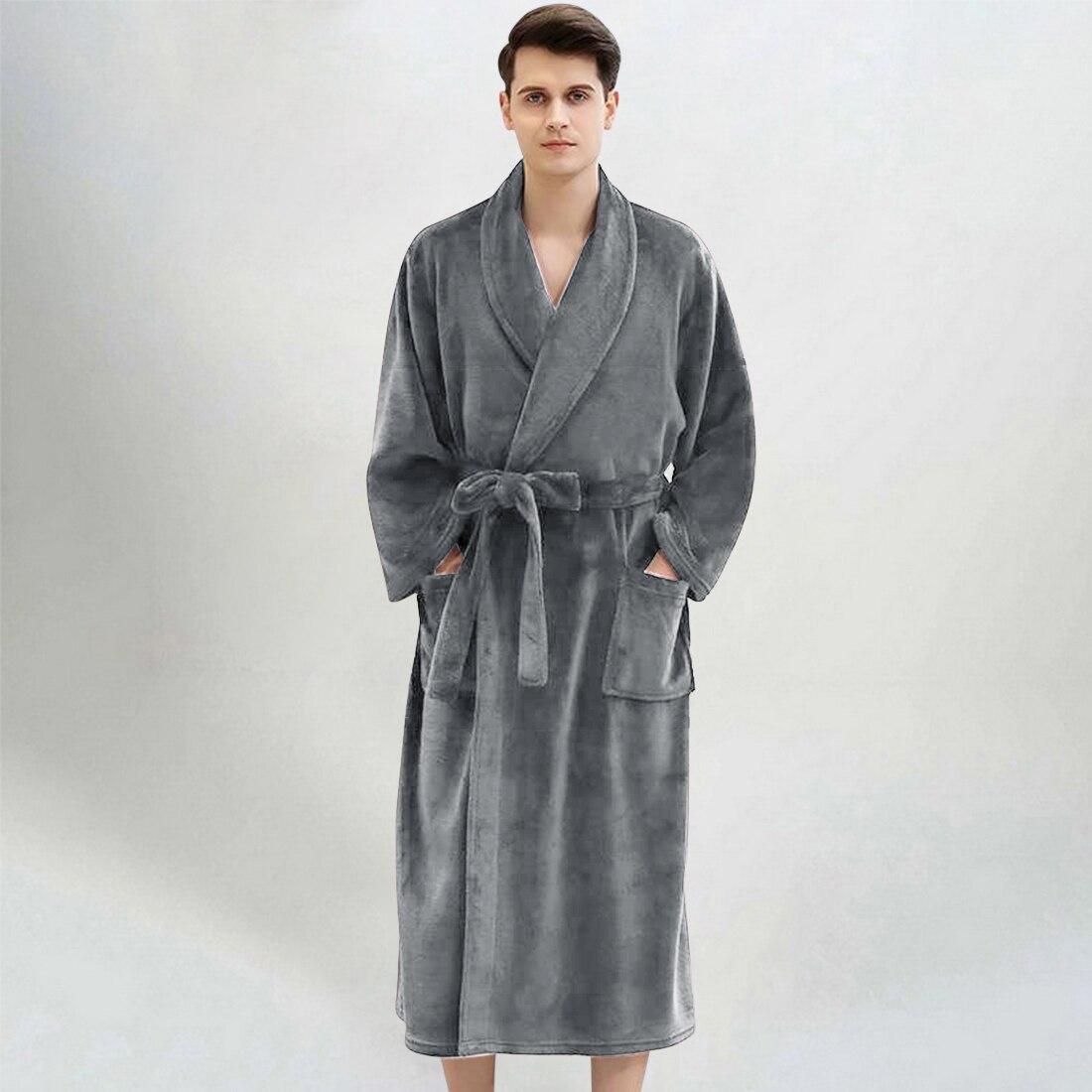 Халат-кимоно мужской зимний длинный, с капюшоном, 2021
