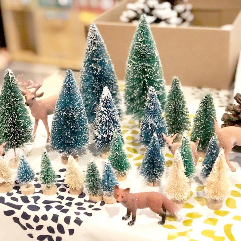 Mini arbres de noël, pour artisanat, arbre de Sisal, bouteilles, brosses, Miniature, sapin de noël, décoration de noël, faux pins