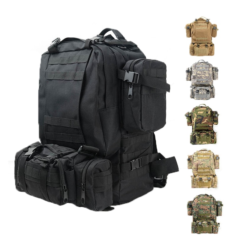 Hiking Camping Backpacks Ployester Fabric Waterproof Women Men Tactical Military Travel Backpack