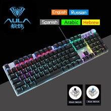 AULA, механическая клавиатура, игровой ноутбук, подставка для запястья, подсветка, светодиодный, проводной, USB, игровой, иврит, арабский, русский
