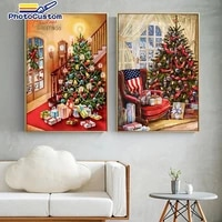 photocustom christmas tree painting by numbers hand painted pictures acylic wall decor gift kits home decor