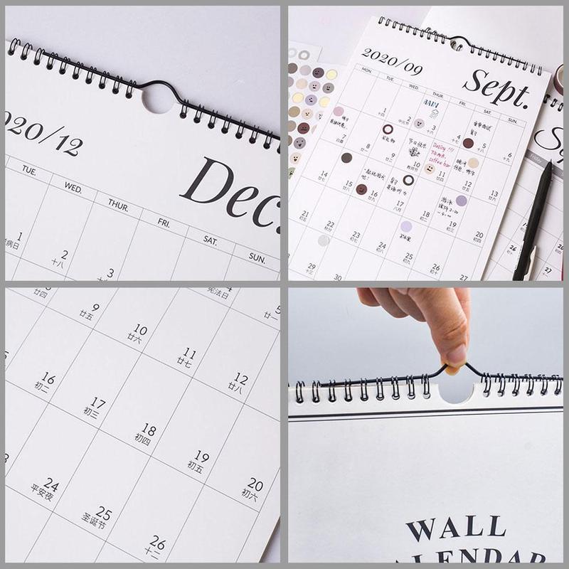 Настенный календарь 2021, ежемесячный планировщик, домашний офис, спиральный выдвижной настенный календарь, настенные украшения, заметки, до...