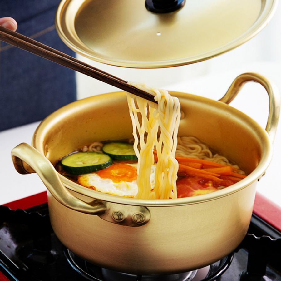 Korean Ramen Noodle Pot Aluminum Stockpot Soup Pot W/ Lid Instant Fast Heating Noodle Cooking Pan Kitchen Cookware small hot pot