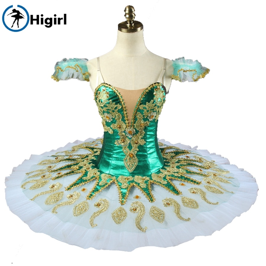 Shipping free! Green girl ballet  tutu Sleeping Beauty Ballerina Competition Professional Ballet Stage Costum BT9134G