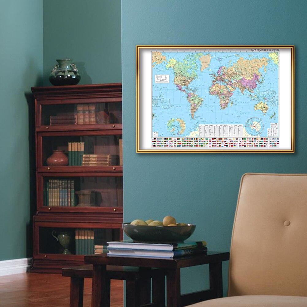 A2 Размер Мир Политический Карта На Испанский Холст Живопись Стена Искусство Плакат Офис Дом Украшение Школа Принадлежности Путеводитель Путеводитель