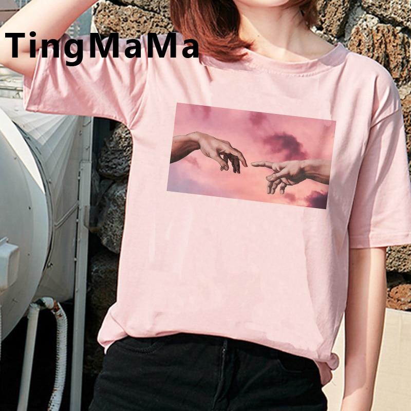 Vintage estético Michelangelo camiseta mujeres Grunge verano Top Cartoon camiseta lindo Vaporwave gráfico Tees Unisex camiseta Mujer