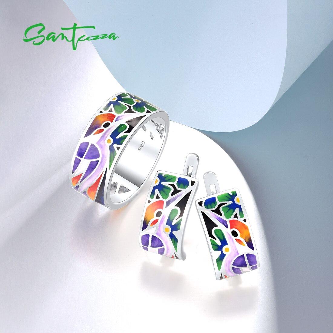 SANTUZZA Pure 925 Sterling Silver Jewelry Set For Woman Bird Woodpecker Ring Earrings Set Unique Fine Jewelry Handmade Enamel
