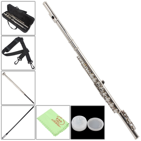 Silver Plated 16 Closed Holes ToneC Flute with Case / Cloth / Screwdriver Woodwind Instruments with Accessories enlarge