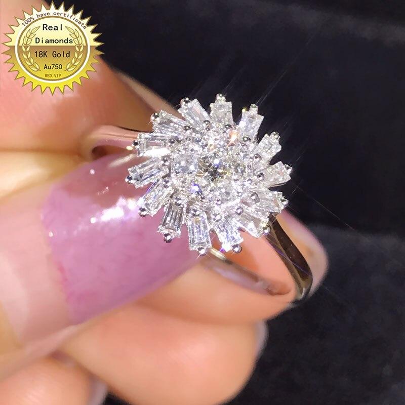 خاتم من الذهب عيار 18 قيراطًا مرصع بالألماس الطبيعي عيار 0.4ct ومجوهرات الزفاف والخطوبة مع شهادة 0030
