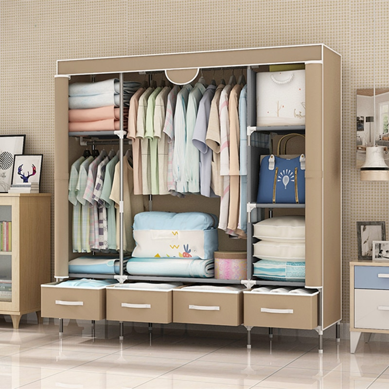 actionclub multifunction non woven cloth closet dust proof moisture proof high quality fabric wardrobe clothes storage cabinet Non-Woven Fabrics Wardrobe Coffee Fabric Closet Portable Folding Dust-proof Waterproof Storage Cabinet Bedroom Home Furniture