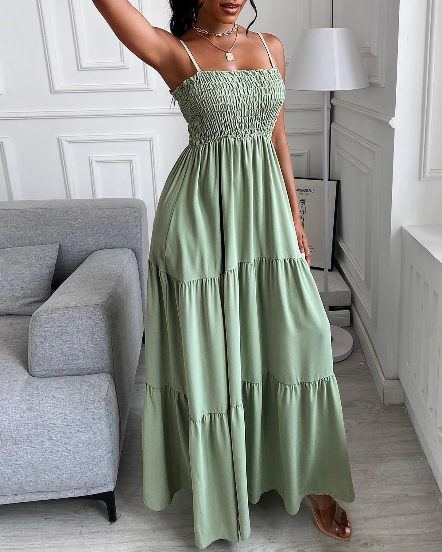 فستان صيفي مكشكش للسيدات بحزام شفاف فستان طويل موضة 2021 صيفي سادة فستان صيفي للسيدات ملابس Y2K فساتين للشاطئ