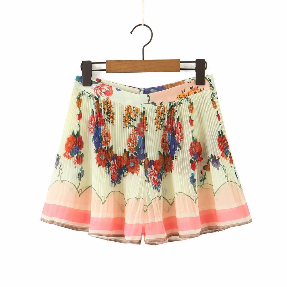2020 nova moda feminina cor correspondência flor impressão plissado shorts senhoras voltar zíper chiffon shorts chic pantalone cortos p623