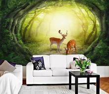 CJSIR Custom 3d Wallpaper Fairy Forest TV Background Wall Natural Scenery Deer Background Wall Papel De Parede 3d Wallpaper