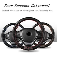 38cm four seasons universal black genuine leather sport style durable in use leather braid steering wheel cover car accessories