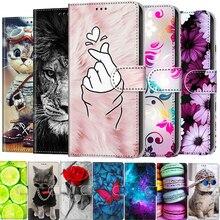 หนังสำหรับ Huawei Honor 7S 8S 9S 8 9 10 20 9A 9C 8X 8A กระเป๋าสตางค์ Stand ปกหนังสือแมวดอกไม้