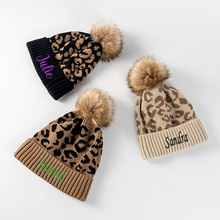 Personalized Leopard print curled wool ball knit hat women's outdoor warmth  Embroidery Custom Name