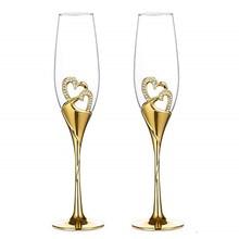 Ensemble de verres à Champagne en cristal, 2 pièces, pour cadeau de mariage, verres à vin en forme de flûte, de 201 à 300 ML