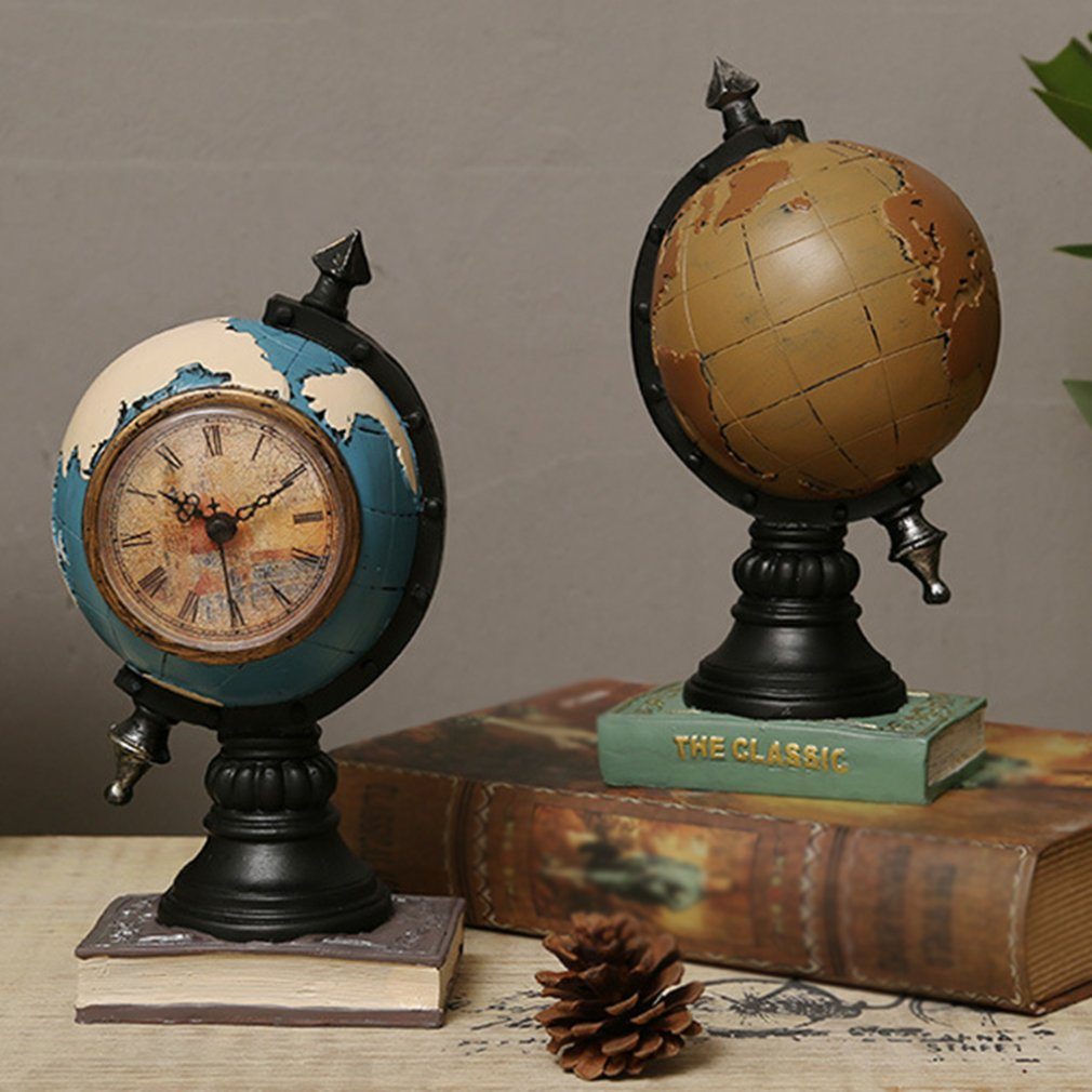 Modelo de globo de resina Vintage con reloj, hucha, hucha, caja de dinero, accesorios de decoración, adorno para mesa de oficina, Tellurion