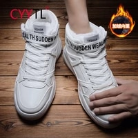 cyytl keep warm shoes men winter outdoor sport medium high sneakers walking casual breathable leather shoes hommes chaussures