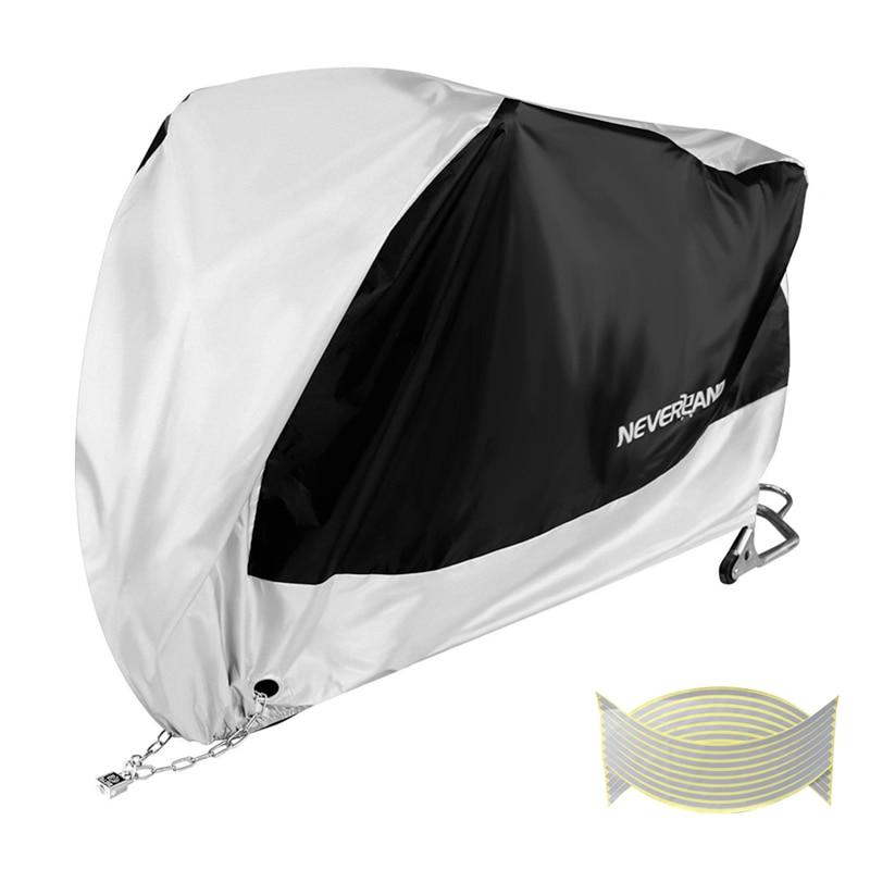 Plata negro 190T polvo UV Protector sol nieve lluvia impermeable cubierta de la motocicleta M L XL XXL XXXL D45