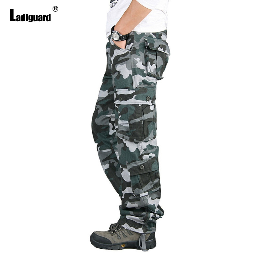 Ladiguard Pus Size Mens Cargo Pants Latest Casual Autumn Camouflage Pants Male Zipper Pockets Trouser 2021 Fashion Outdoor Pant zipper fly pockets embellished plus size cargo pants