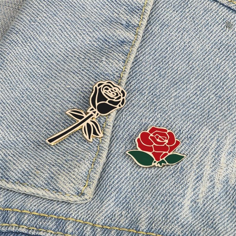 Insignia de flor bonita, broche de Metal esmaltado en rojo, Negro, Rosa, regalo de San Valentín para novia, mochila, solapa, joyería para sombrero
