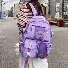 2021 Women Large Capacity Travel Backpack Female Multi-pocket College Waterproof School Bags Transpa