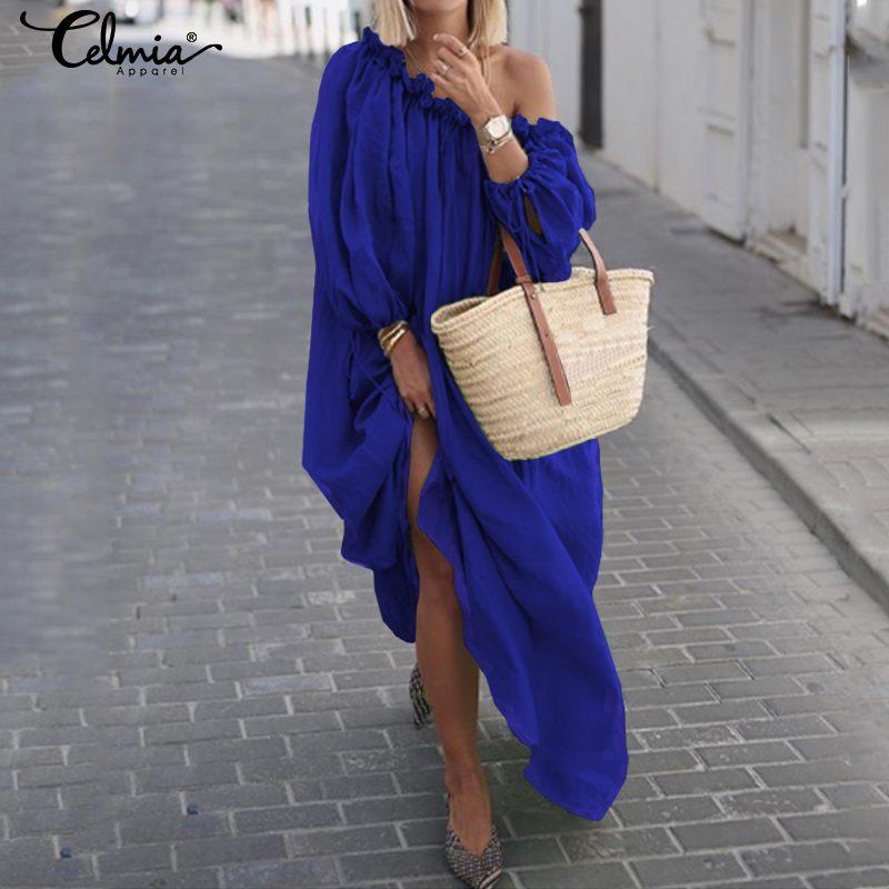 Celmia 2020 Summer Sexy Off Shoulder Long Dress Women Bohemian Sundress Ladies Casual Solid Long Sleeve Beach Vestidos Robe 5XL