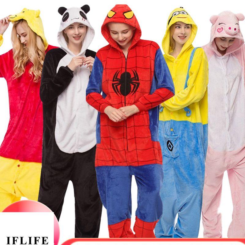 Pijamas de animales para adultos, conjunto de pijamas de Unicornio Rosa Pokemon Pikachu, conjunto de pijamas de Anime Unicornio Panda Kigurumi, mujeres, hombres, franela con capucha