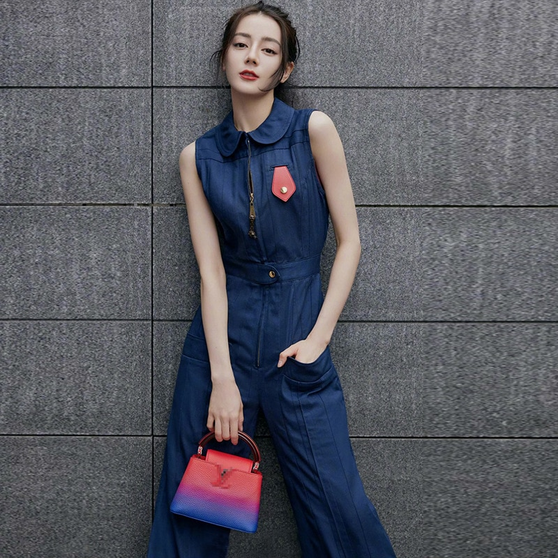 Women Jumpsuit Star Brand Zipper Sleeveless Denim Slim One Piece Clothing Female New